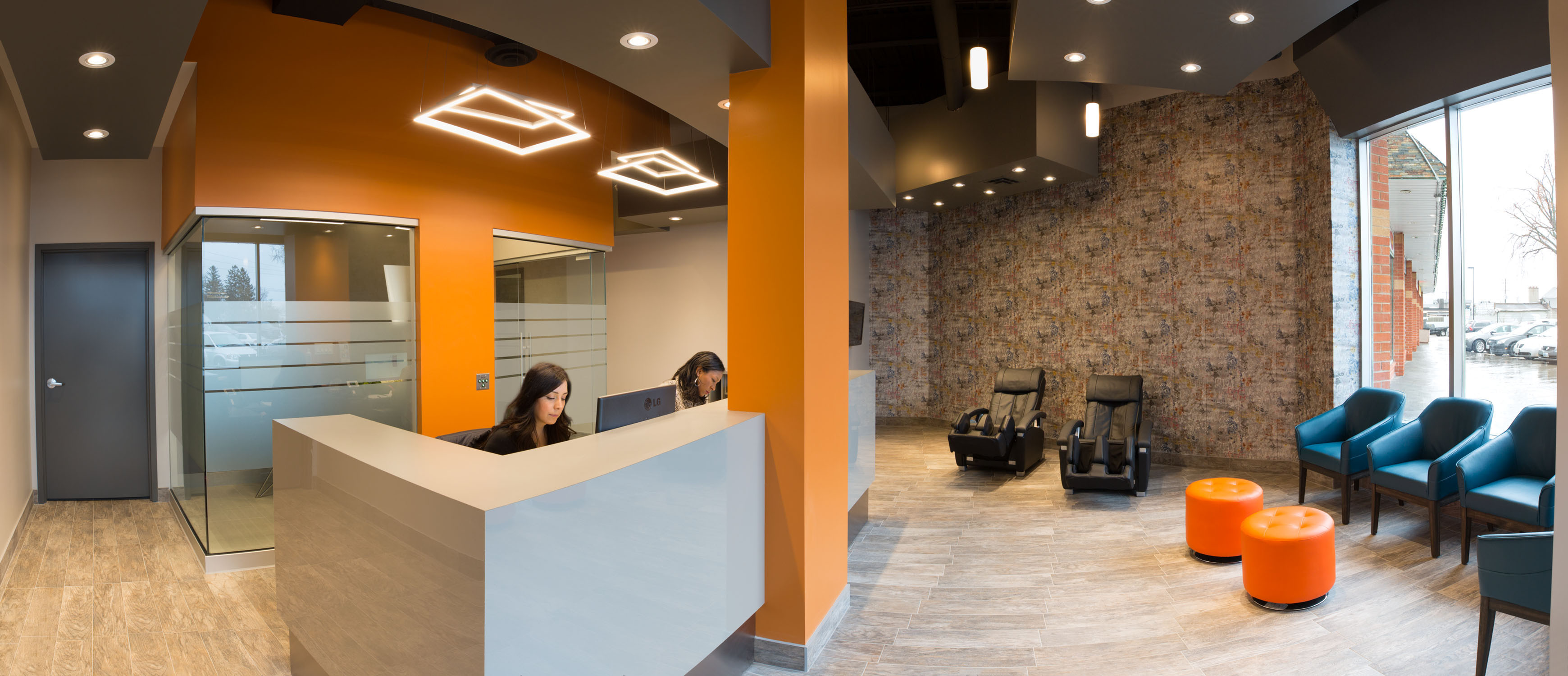 By The Lake Dental - Highland Creek patient lounge and concierge desk.